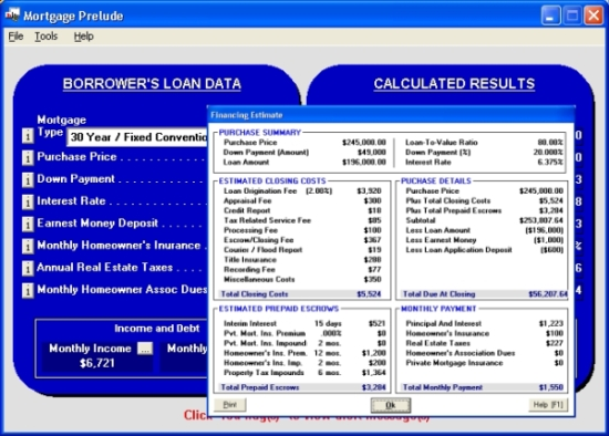 Click to view Mortgage Prelude 2.6.5.000 screenshot