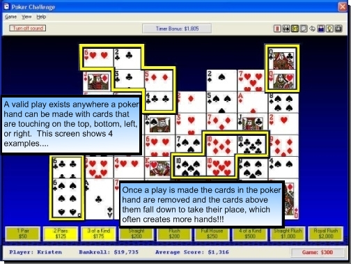An enjoyable blend of poker and solitaire.