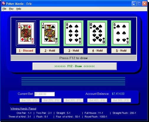 Poker Mania - Enjoyable (FREE) game simulates video poker.
