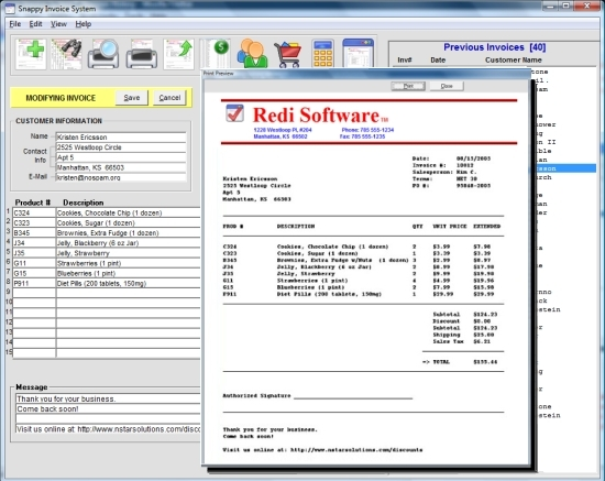 Click to view Snappy Invoice System 6.2.91.093 screenshot